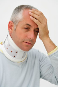 A Man Using Neck Brace