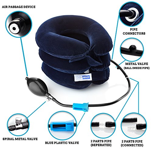 2 easy neck cervical traction device with adjustable size collar u0026 bigger pump